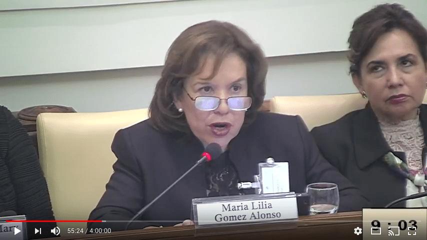 La Presidente de la Asociación de Magistrados y Funcionarios de la Justicia Nacional, Dra. María Lilia Díaz Cordero, en la Cumbre de Mujeres Jueces y Fiscales en materia de trata de personas y crimen organizado en la Casina Pio IV, Ciudad del Vaticano.