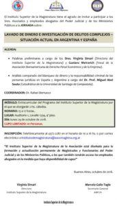 Jornada Lavado de dinero e investigación de delitos complejos - Situación actual en Argentina y España @ Auditorio 1