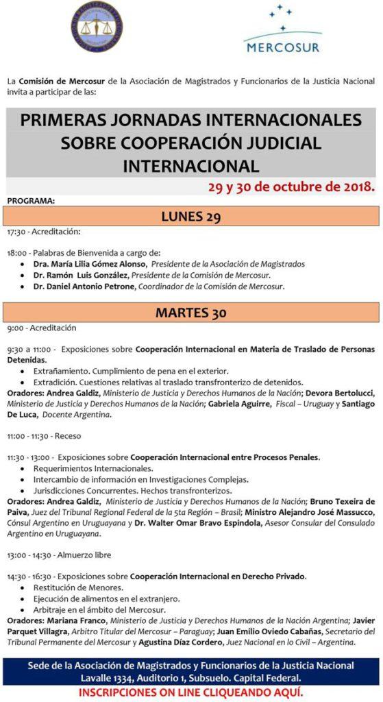 Primeras Jornadas Internacionales sobre Cooperación Judicial Internacional @ Auditorio 1 | Buenos Aires | Argentina